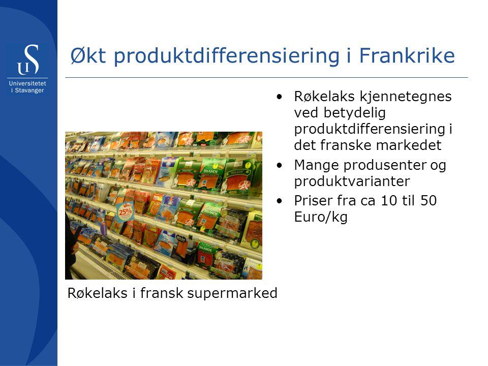 Økt produktdifferensiering i Frankrike Røkelaks kjennetegnes ved betydelig produktdifferensiering i det franske markedet Mange produsenter og produktvarianter Priser fra ca 10 til 50 Euro/kg Røkelaks i fransk supermarked