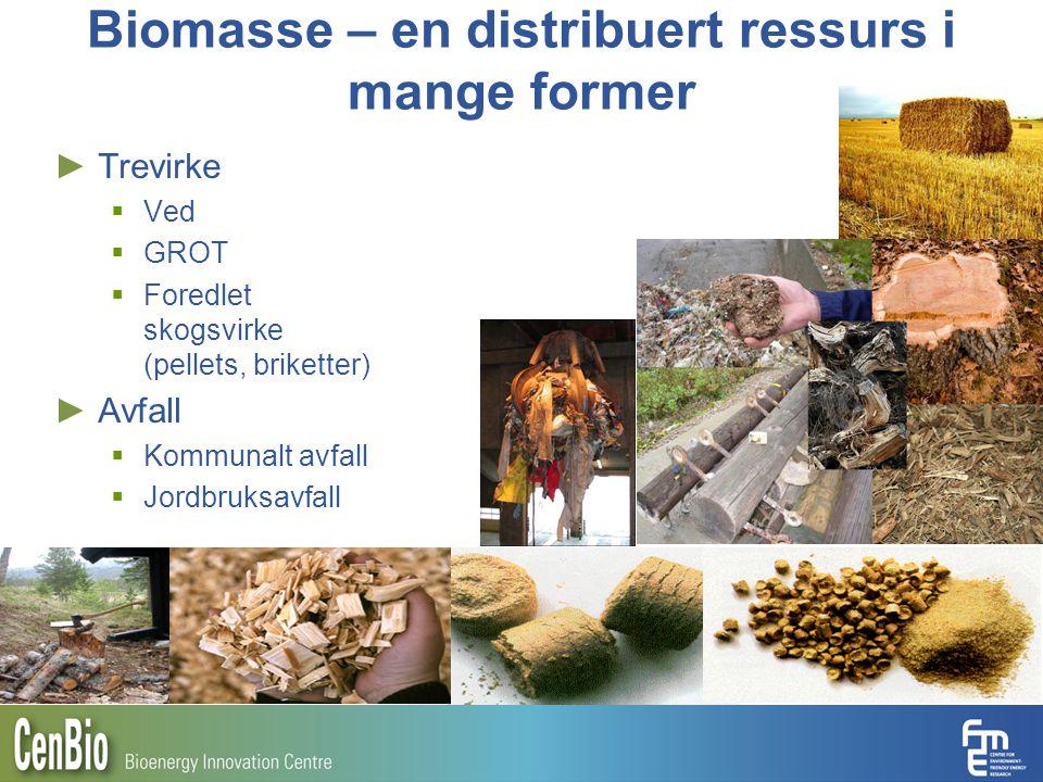Biomasse – en distribuert ressurs i mange former ► Trevirke  Ved  GROT  Foredlet skogsvirke (pellets, briketter) ► Avfall  Kommunalt avfall  Jord