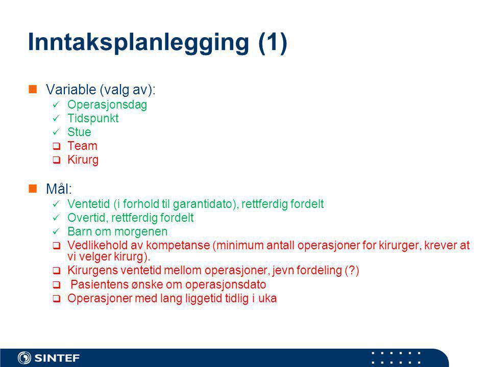 Inntaksplanlegging (1) Variable (valg av): Operasjonsdag Tidspunkt Stue  Team  Kirurg Mål: Ventetid (i forhold til garantidato), rettferdig fordelt