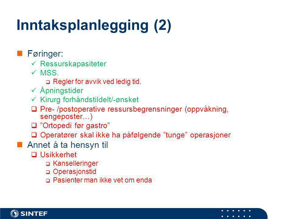 Inntaksplanlegging (2) Føringer: Ressurskapasiteter MSS.  Regler for avvik ved ledig tid. Åpningstider Kirurg forhåndstildelt/-ønsket  Pre- /postope