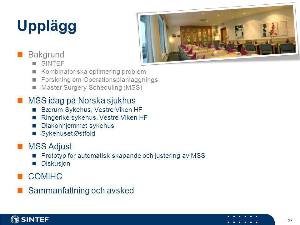 23 Upplägg Bakgrund SINTEF Kombinatoriska optimering problem Forskning om Operationsplanläggnings Master Surgery Scheduling (MSS) MSS idag på Norska s