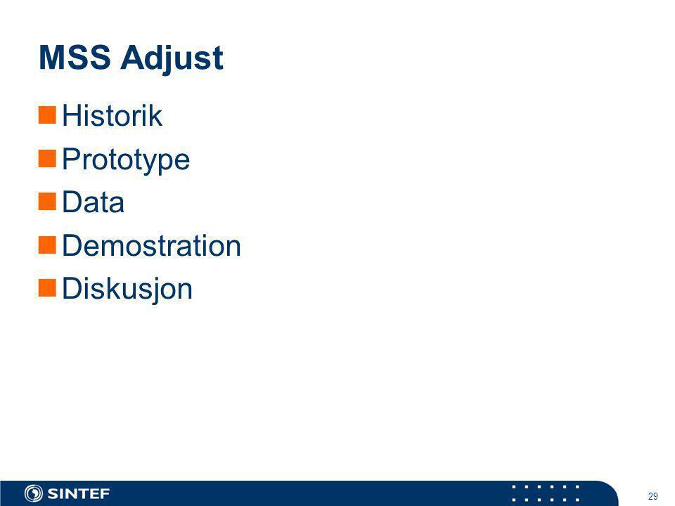 29 MSS Adjust Historik Prototype Data Demostration Diskusjon