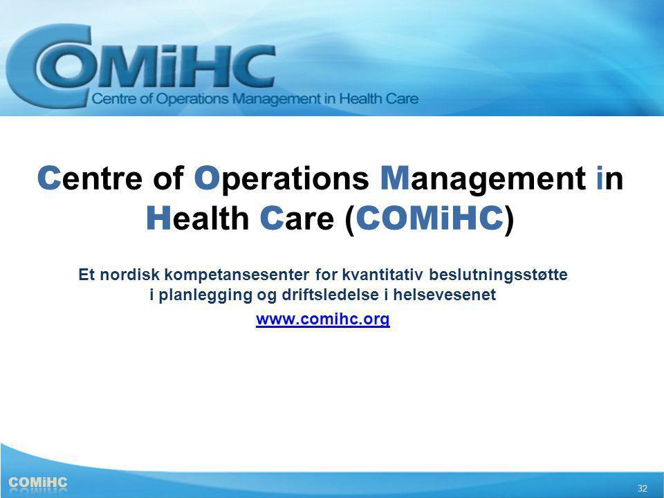 C entre of O perations M anagement in H ealth C are ( COMiHC ) Et nordisk kompetansesenter for kvantitativ beslutningsstøtte i planlegging og driftsle