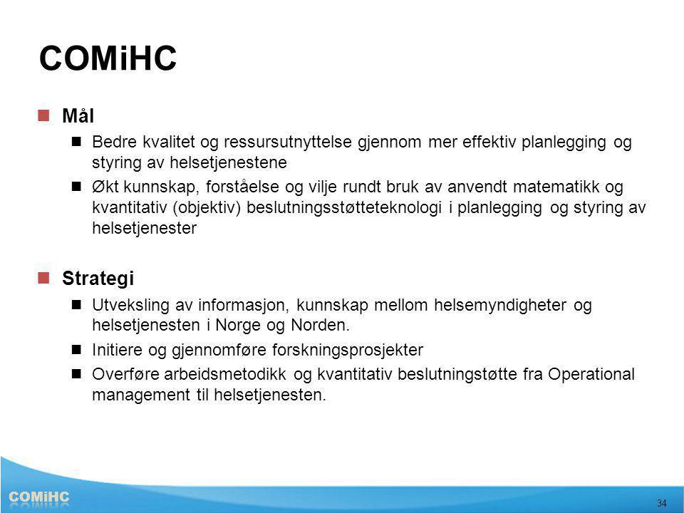 Helsetjenesten 34 COMiHC Mål Bedre kvalitet og ressursutnyttelse gjennom mer effektiv planlegging og styring av helsetjenestene Økt kunnskap, forståel