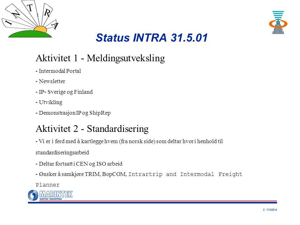 2 - 7/12/2014 I N T R A Status INTRA 31.5.01 Aktivitet 1 - Meldingsutveksling - Intermodal Portal - Newsletter - IP- Sverige og Finland - Utvikling - Demonstrasjon IP og ShipRep Aktivitet 2 - Standardisering - Vi er i ferd med å kartlegge hvem (fra norsk side) som deltar hvor i henhold til standardiseringsarbeid - Deltar fortsatt i CEN og ISO arbeid - Ønsker å samkjøre TRIM, BopCOM, Intrartrip and Intermodal Freight Planner