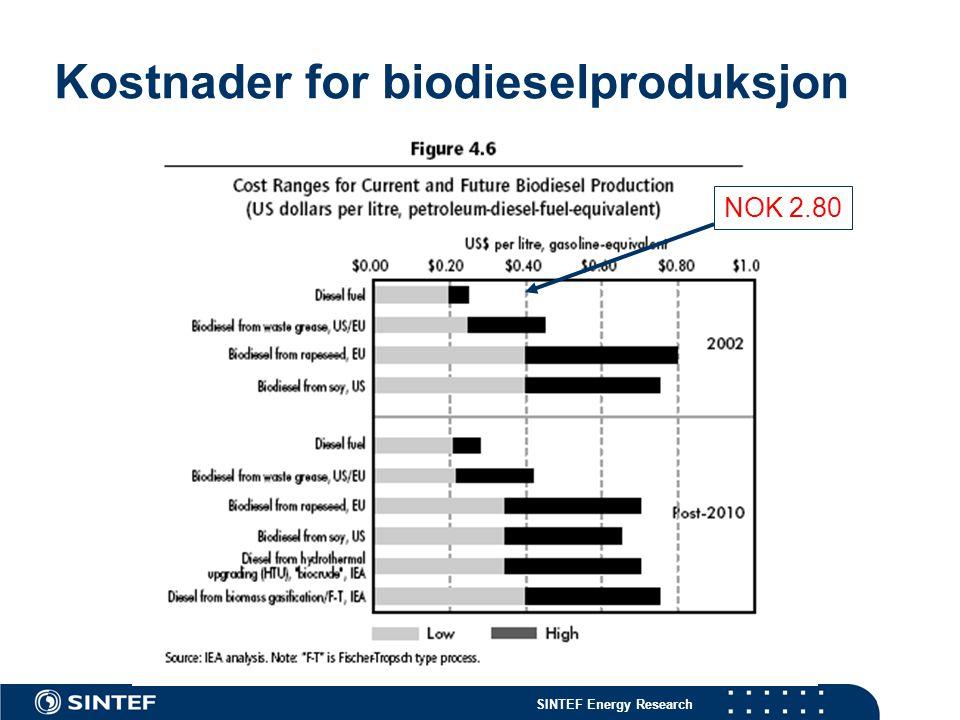 SINTEF Energy Research Kostnader for biodieselproduksjon NOK 2.80