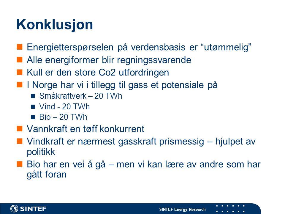 """SINTEF Energy Research Konklusjon Energietterspørselen på verdensbasis er """"utømmelig"""" Alle energiformer blir regningssvarende Kull er den store Co2 ut"""