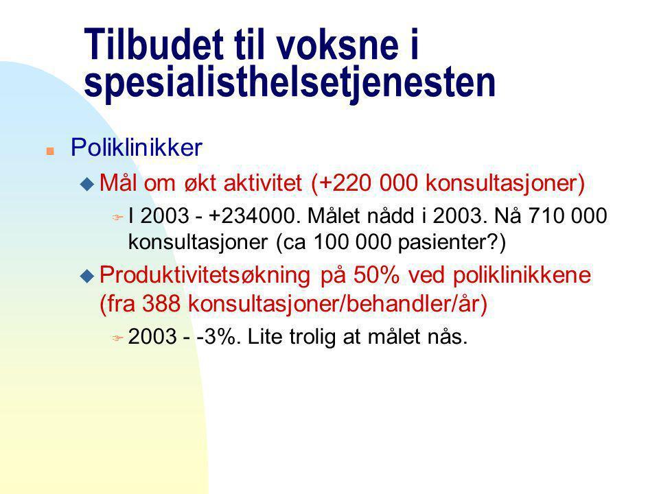 Tilbudet til voksne i spesialisthelsetjenesten n Poliklinikker u Mål om økt aktivitet (+220 000 konsultasjoner) F I 2003 - +234000.