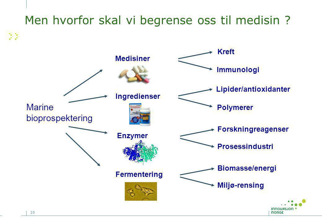 16 Enzymer Fermentering Forskningreagenser Prosessindustri Kreft Immunologi Lipider/antioxidanter Polymerer Biomasse/energi Miljø-rensing Marine bioprospektering Medisiner Ingredienser Men hvorfor skal vi begrense oss til medisin