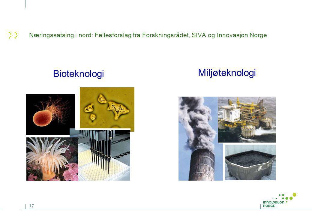 17 Bioteknologi Miljøteknologi Næringssatsing i nord: Fellesforslag fra Forskningsrådet, SIVA og Innovasjon Norge