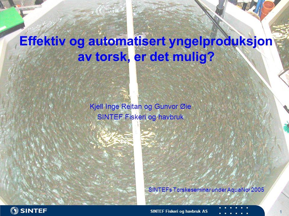SINTEF Fiskeri og havbruk AS 1 Effektiv og automatisert yngelproduksjon av torsk, er det mulig? SINTEFs Torskeseminar under AquaNor 2005 Kjell Inge Re