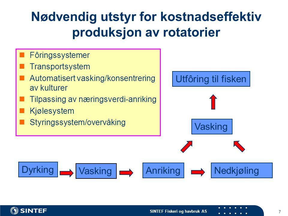 SINTEF Fiskeri og havbruk AS 7 Nødvendig utstyr for kostnadseffektiv produksjon av rotatorier Fôringssystemer Transportsystem Automatisert vasking/kon
