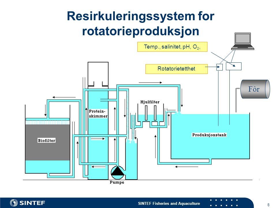 SINTEF Fisheries and Aquaculture 8 Resirkuleringssystem for rotatorieproduksjon Temp., salinitet, pH, O 2, Rotatorietetthet Fôr