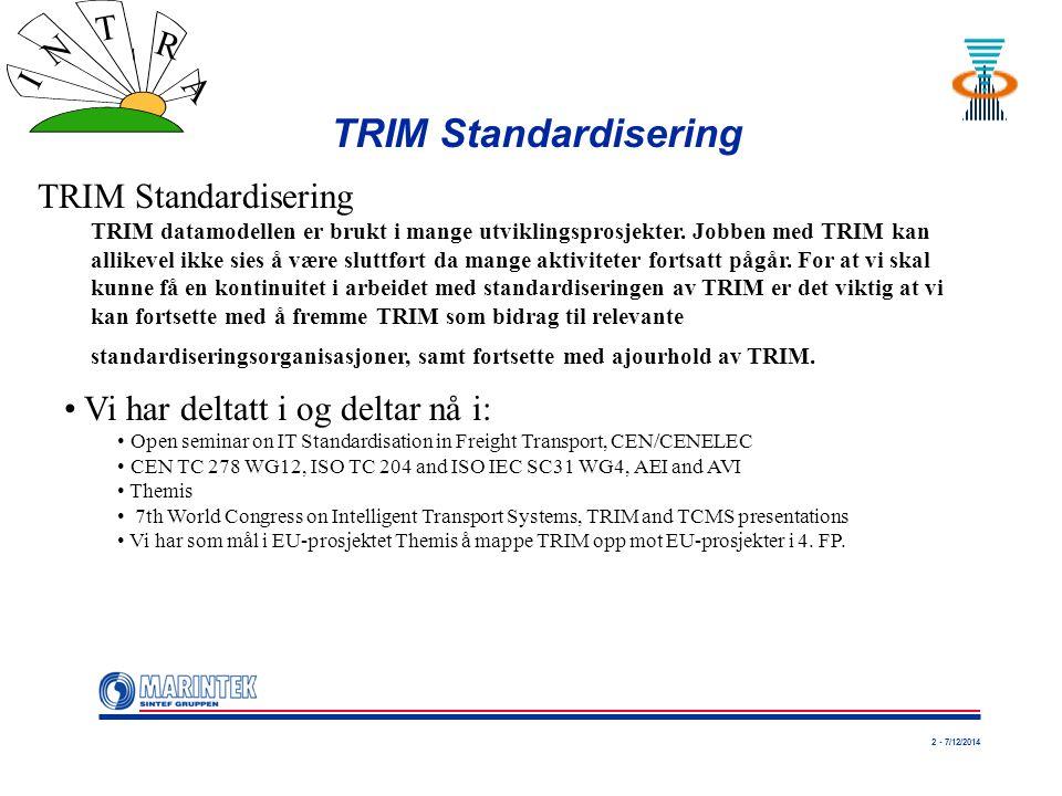 2 - 7/12/2014 I N T R A TRIM Standardisering TRIM datamodellen er brukt i mange utviklingsprosjekter. Jobben med TRIM kan allikevel ikke sies å være s