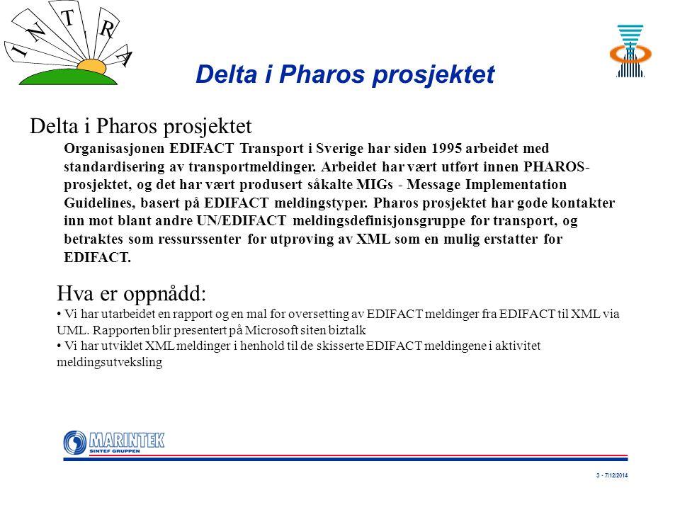 3 - 7/12/2014 I N T R A Delta i Pharos prosjektet Organisasjonen EDIFACT Transport i Sverige har siden 1995 arbeidet med standardisering av transportmeldinger.