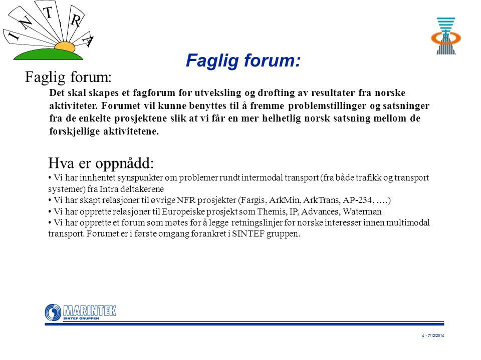 4 - 7/12/2014 I N T R A Faglig forum: Det skal skapes et fagforum for utveksling og drøfting av resultater fra norske aktiviteter. Forumet vil kunne b