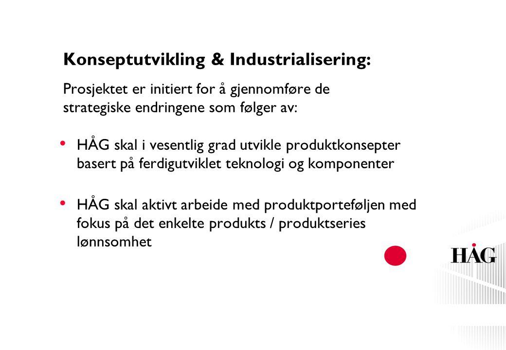Konseptutvikling & Industrialisering: Prosjektet er initiert for å gjennomføre de strategiske endringene som følger av: HÅG skal i vesentlig grad utvi