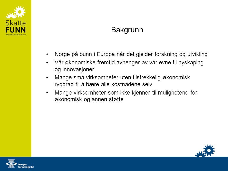 Bakgrunn Norge på bunn i Europa når det gjelder forskning og utvikling Vår økonomiske fremtid avhenger av vår evne til nyskaping og innovasjoner Mange