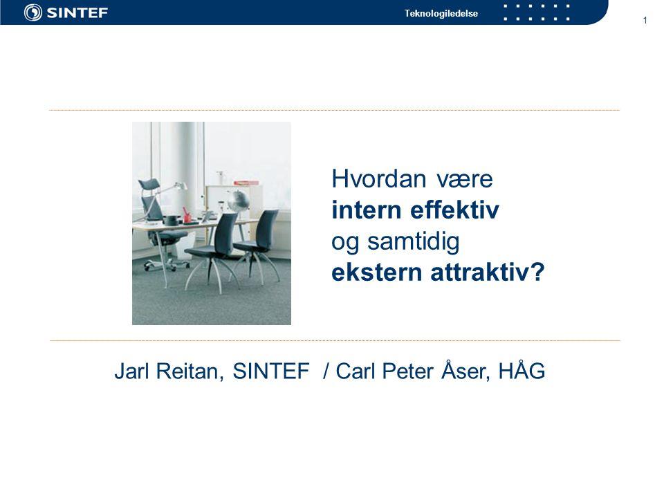Teknologiledelse 1 Hvordan være intern effektiv og samtidig ekstern attraktiv? Jarl Reitan, SINTEF / Carl Peter Åser, HÅG