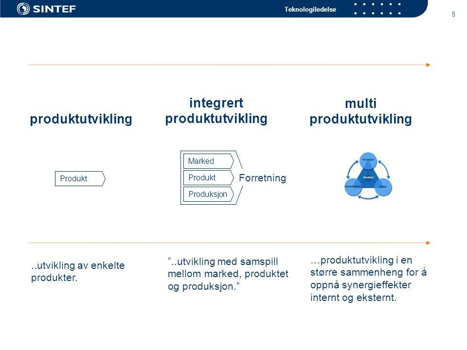 Teknologiledelse 5 multi produktutvikling integrert produktutvikling produktutvikling Produkt Marked Produkt Produksjon Forretning …produktutvikling i en større sammenheng for å oppnå synergieffekter internt og eksternt.