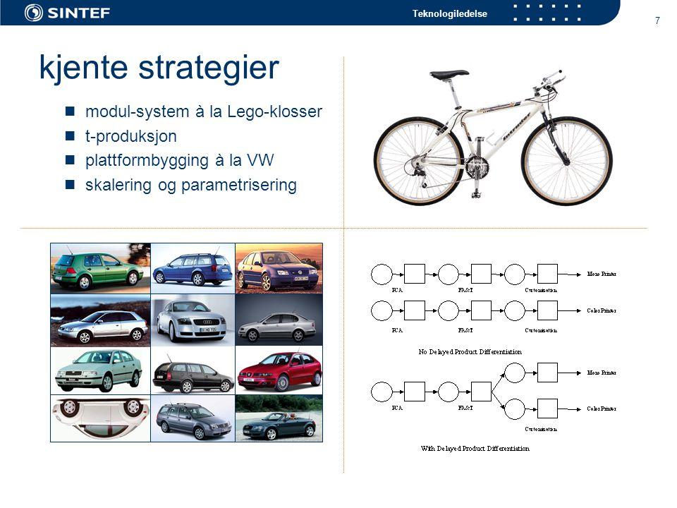 Teknologiledelse 7 kjente strategier modul-system à la Lego-klosser t-produksjon plattformbygging à la VW skalering og parametrisering