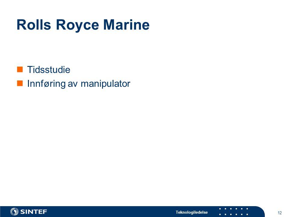 Teknologiledelse 12 Rolls Royce Marine Tidsstudie Innføring av manipulator