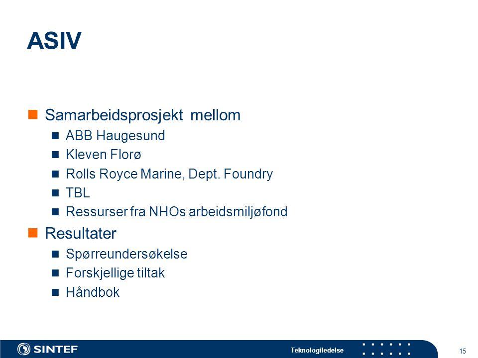 Teknologiledelse 15 ASIV Samarbeidsprosjekt mellom ABB Haugesund Kleven Florø Rolls Royce Marine, Dept. Foundry TBL Ressurser fra NHOs arbeidsmiljøfon