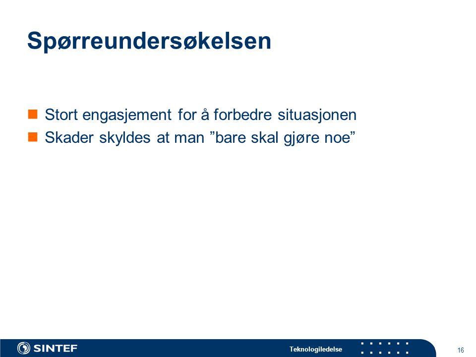 """Teknologiledelse 16 Spørreundersøkelsen Stort engasjement for å forbedre situasjonen Skader skyldes at man """"bare skal gjøre noe"""""""