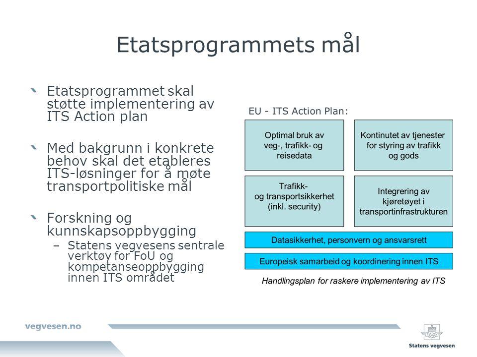 Etatsprogrammets mål Etatsprogrammet skal støtte implementering av ITS Action plan Med bakgrunn i konkrete behov skal det etableres ITS-løsninger for å møte transportpolitiske mål Forskning og kunnskapsoppbygging –Statens vegvesens sentrale verktøy for FoU og kompetanseoppbygging innen ITS området