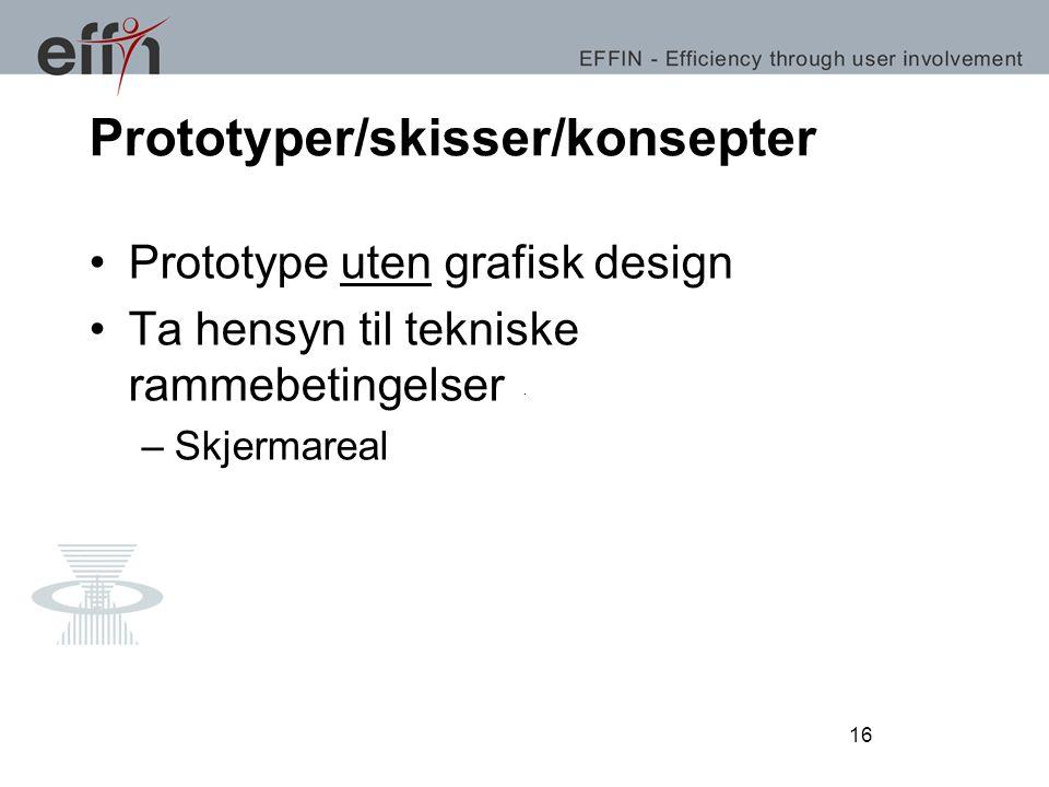 16 Prototyper/skisser/konsepter Prototype uten grafisk design Ta hensyn til tekniske rammebetingelser –Skjermareal 16