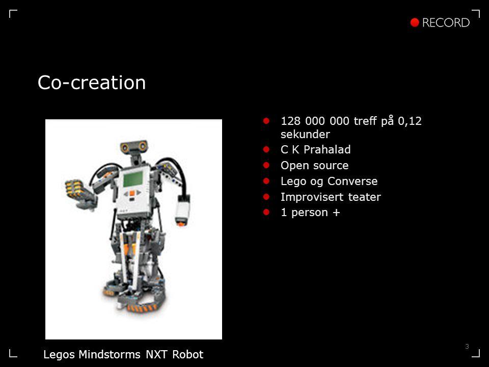 3 Co-creation 128 000 000 treff på 0,12 sekunder C K Prahalad Open source Lego og Converse Improvisert teater 1 person + Legos Mindstorms NXT Robot