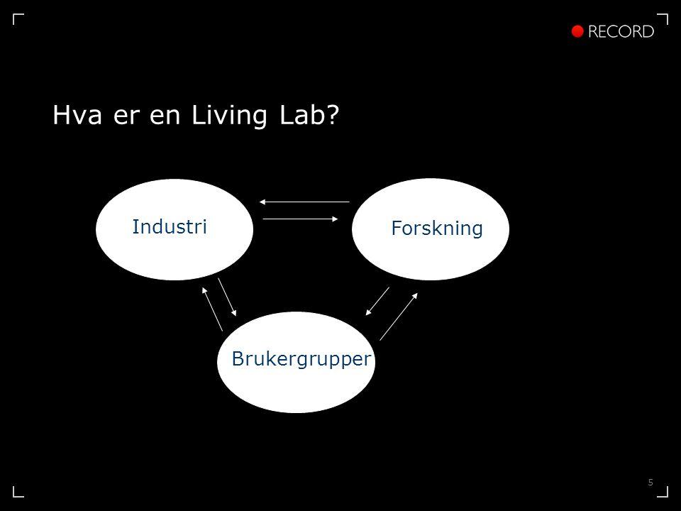 5 Hva er en Living Lab Industri Forskning Brukergrupper