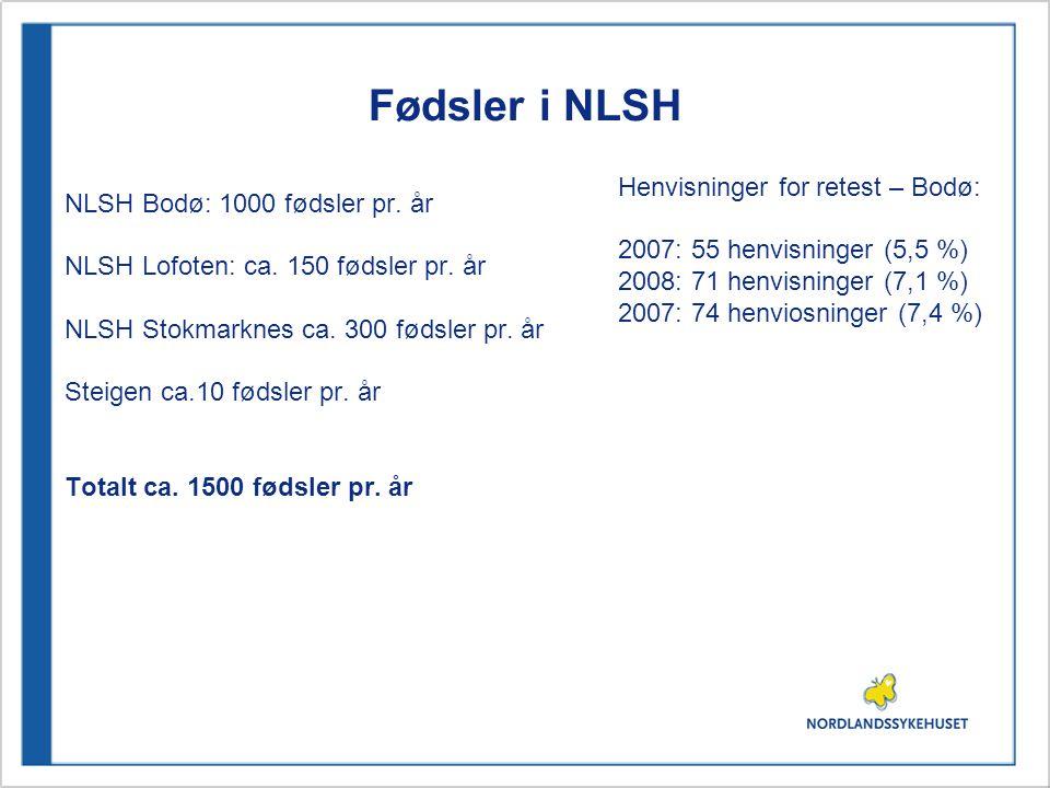 Fødsler i NLSH NLSH Bodø: 1000 fødsler pr. år NLSH Lofoten: ca. 150 fødsler pr. år NLSH Stokmarknes ca. 300 fødsler pr. år Steigen ca.10 fødsler pr. å