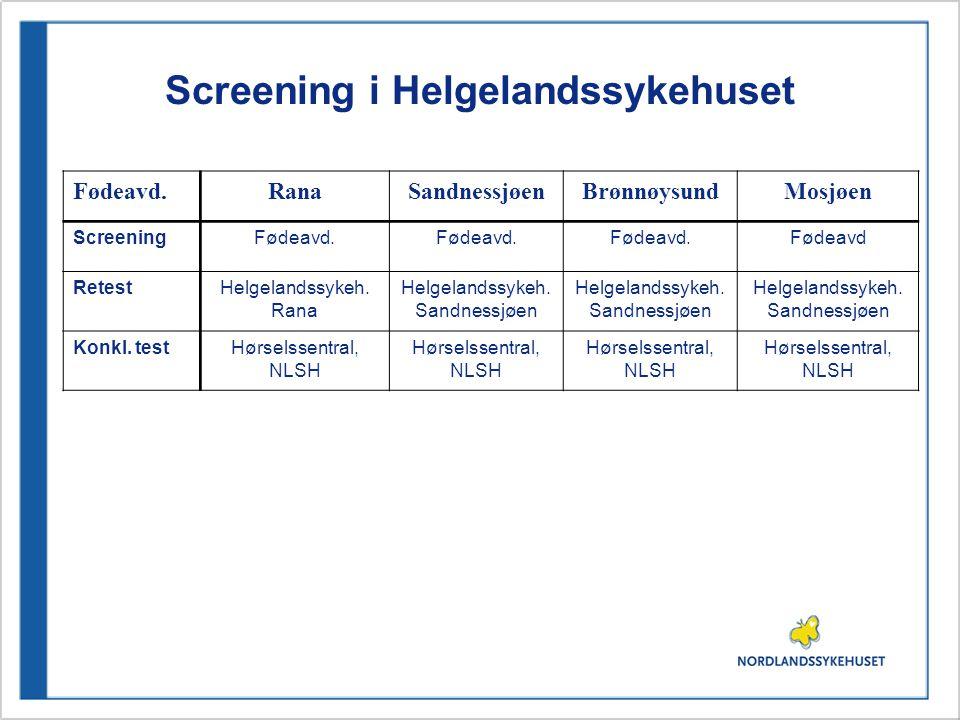 Screening i Helgelandssykehuset Fødeavd.RanaSandnessjøenBrønnøysundMosjøen ScreeningFødeavd. Fødeavd RetestHelgelandssykeh. Rana Helgelandssykeh. Sand
