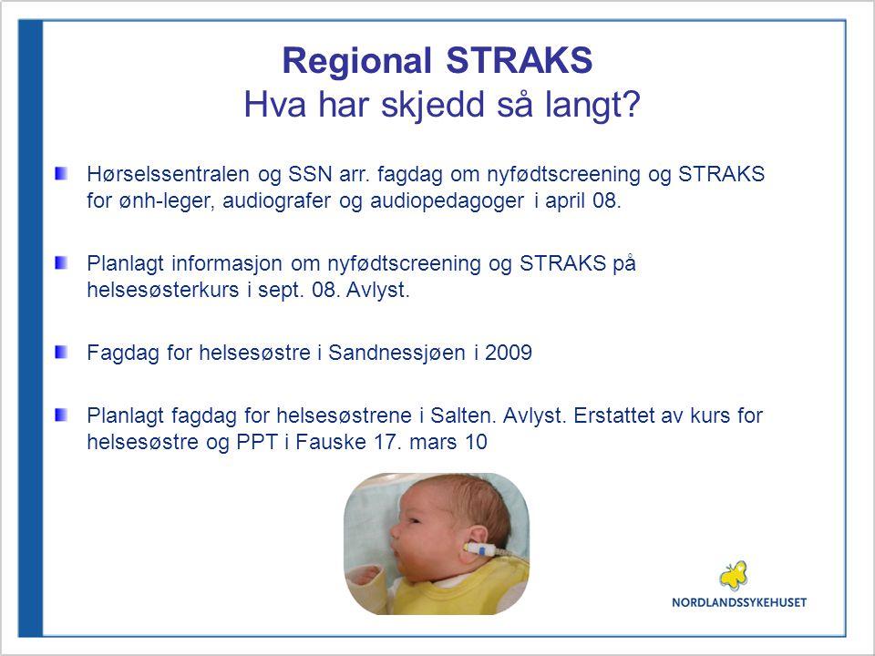 Regional STRAKS Hva har skjedd så langt? Hørselssentralen og SSN arr. fagdag om nyfødtscreening og STRAKS for ønh-leger, audiografer og audiopedagoger