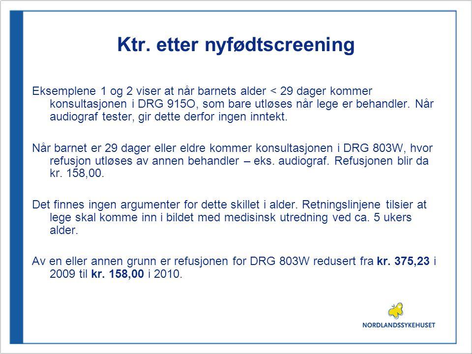 Ktr. etter nyfødtscreening Eksemplene 1 og 2 viser at når barnets alder < 29 dager kommer konsultasjonen i DRG 915O, som bare utløses når lege er beha