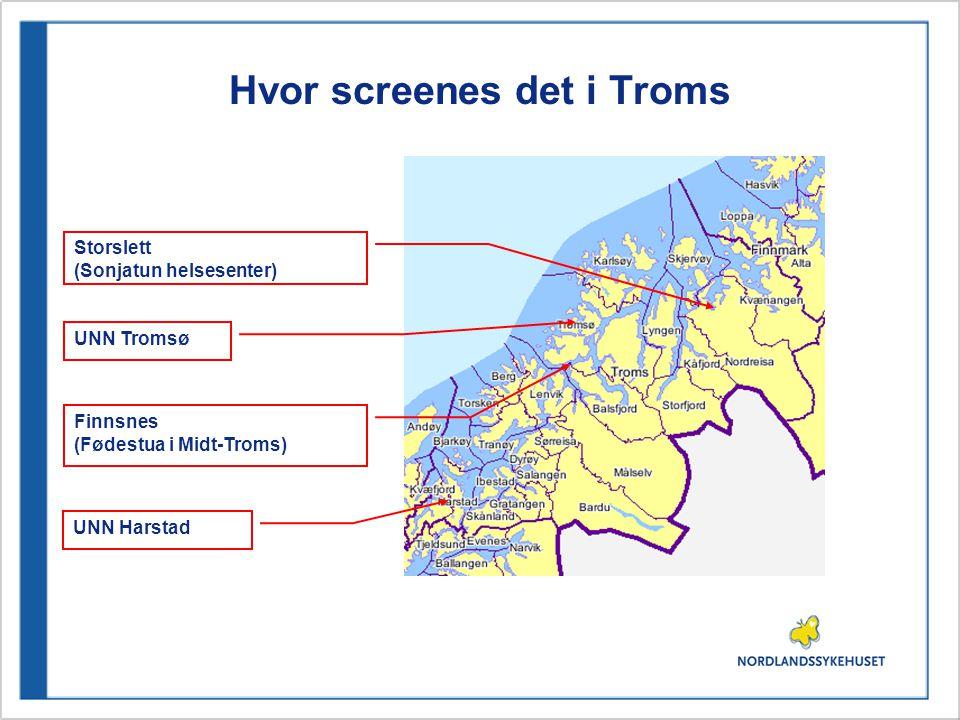 Hvor screenes det i Finnmark Hammerfest sykehus Kirkenes sykehus Alta (Fødestua i Alta)