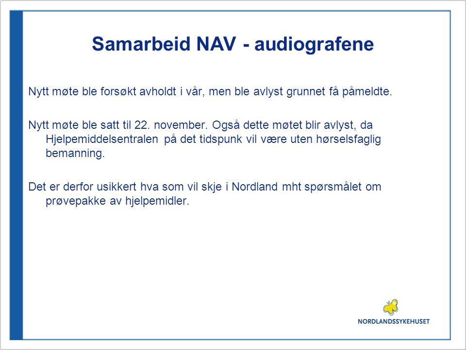 Samarbeid NAV - audiografene Nytt møte ble forsøkt avholdt i vår, men ble avlyst grunnet få påmeldte.
