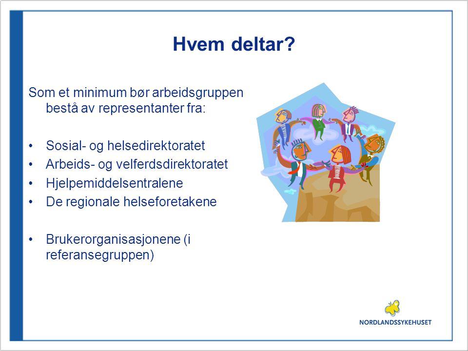 Hvem deltar? Som et minimum bør arbeidsgruppen bestå av representanter fra: Sosial- og helsedirektoratet Arbeids- og velferdsdirektoratet Hjelpemiddel