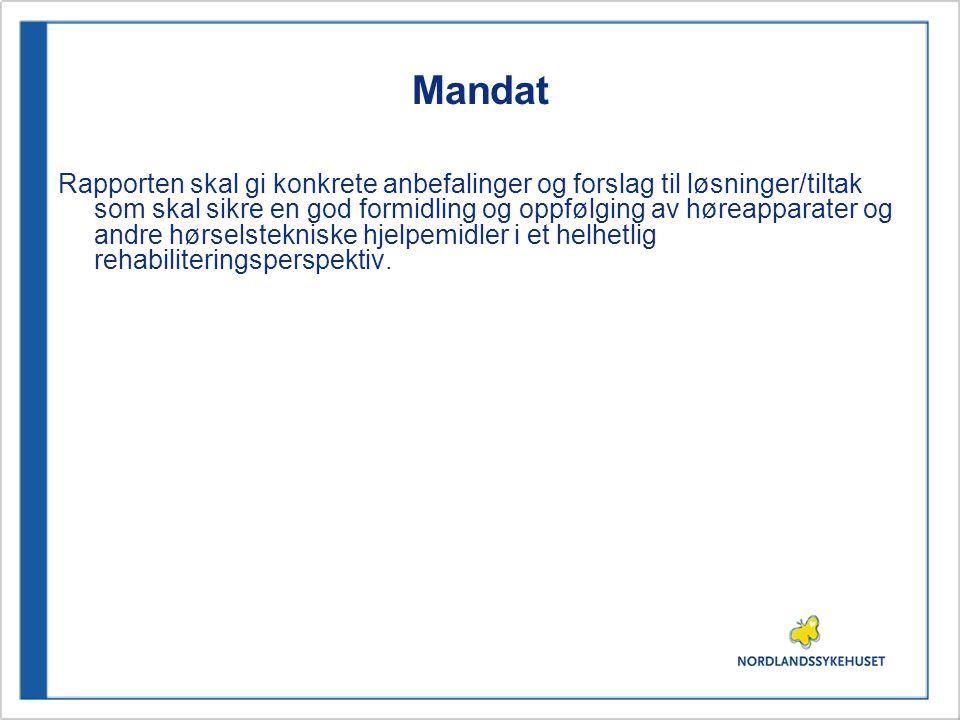 Mandat Rapporten skal gi konkrete anbefalinger og forslag til løsninger/tiltak som skal sikre en god formidling og oppfølging av høreapparater og andr