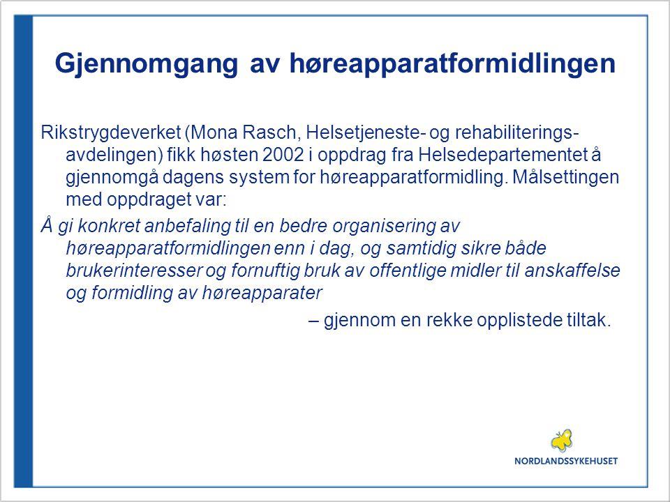 Gjennomgang av høreapparatformidlingen Rikstrygdeverket (Mona Rasch, Helsetjeneste- og rehabiliterings- avdelingen) fikk høsten 2002 i oppdrag fra Hel