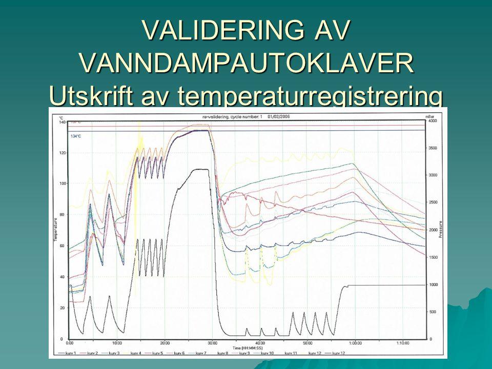 VALIDERING AV VANNDAMPAUTOKLAVER Utskrift av temperaturregistrering