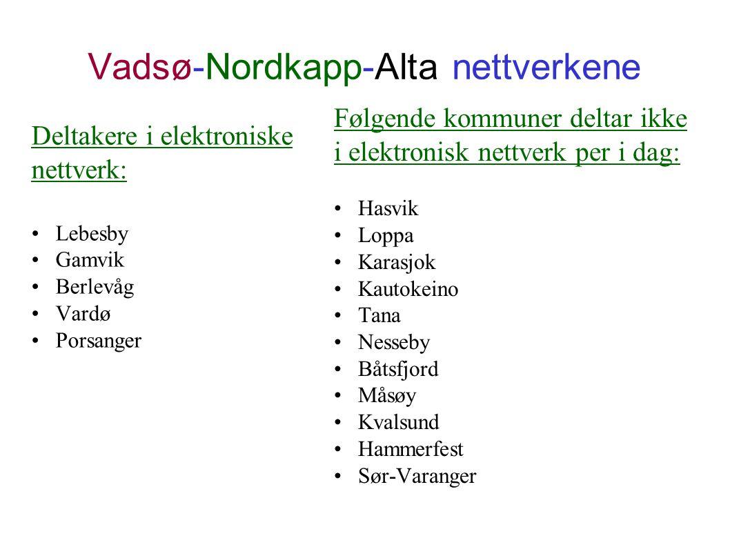 Vadsø-Nordkapp-Alta nettverkene Deltakere i elektroniske nettverk: Lebesby Gamvik Berlevåg Vardø Porsanger Følgende kommuner deltar ikke i elektronisk