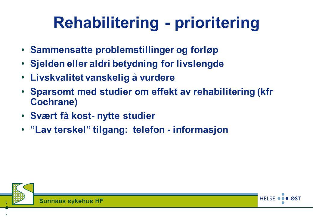 1414 Sunnaas sykehus HF Rehabilitering - prioritering Sammensatte problemstillinger og forløp Sjelden eller aldri betydning for livslengde Livskvalite