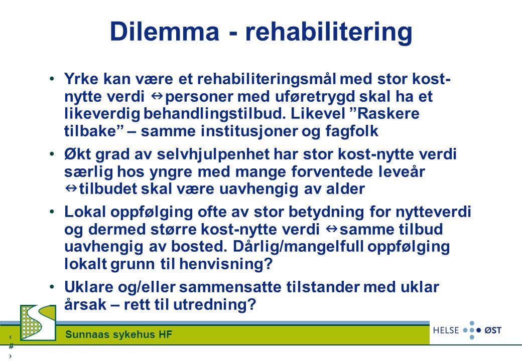 1515 Sunnaas sykehus HF Dilemma - rehabilitering Yrke kan være et rehabiliteringsmål med stor kost- nytte verdi personer med uføretrygd skal ha et lik