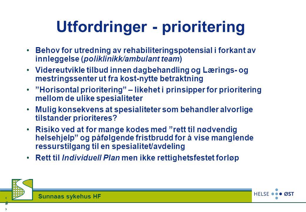 1616 Sunnaas sykehus HF Utfordringer - prioritering Behov for utredning av rehabiliteringspotensial i forkant av innleggelse (poliklinikk/ambulant tea