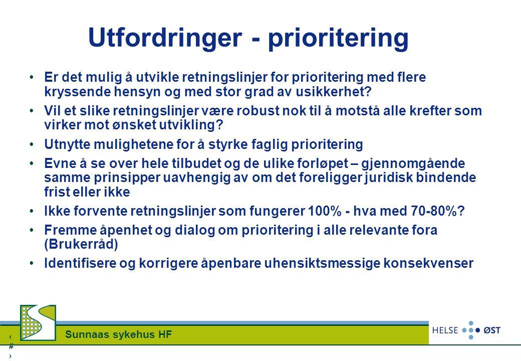 1717 Sunnaas sykehus HF Utfordringer - prioritering Er det mulig å utvikle retningslinjer for prioritering med flere kryssende hensyn og med stor grad