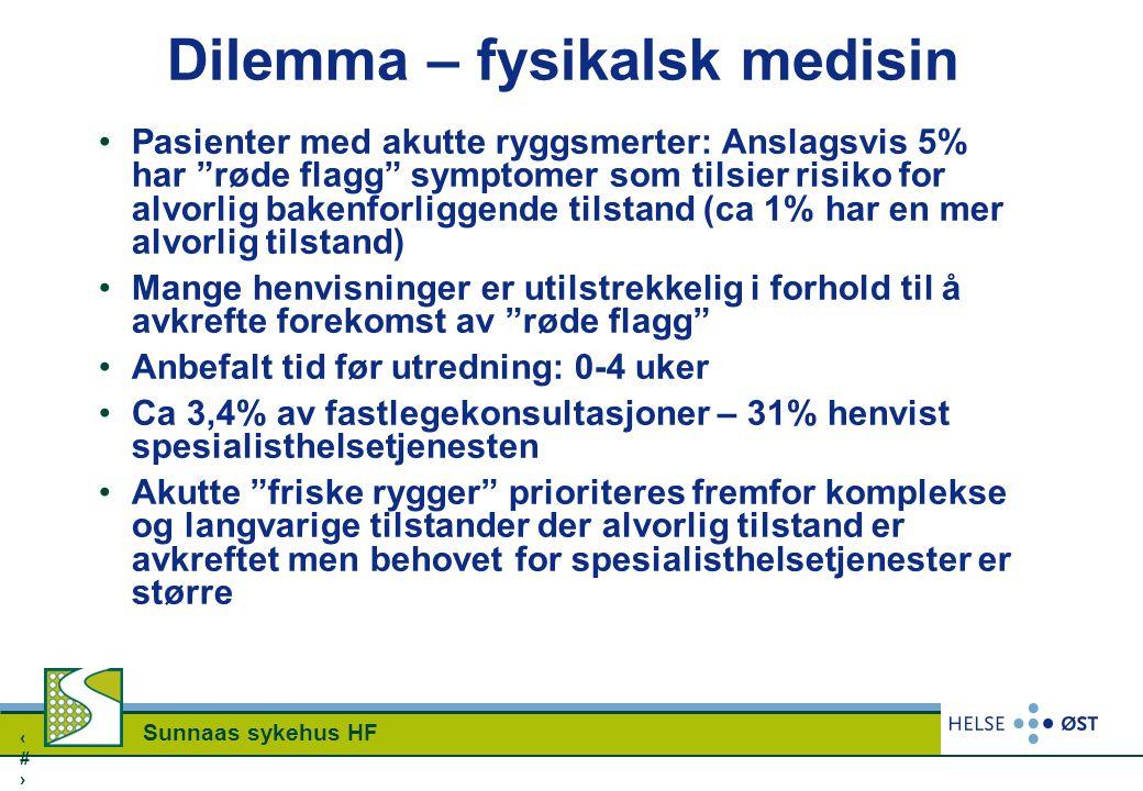 """2323 Sunnaas sykehus HF Dilemma – fysikalsk medisin Pasienter med akutte ryggsmerter: Anslagsvis 5% har """"røde flagg"""" symptomer som tilsier risiko for"""