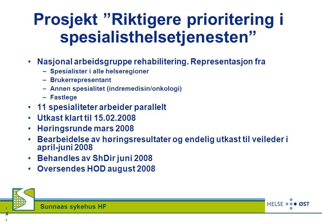 """2424 Sunnaas sykehus HF Prosjekt """"Riktigere prioritering i spesialisthelsetjenesten"""" Nasjonal arbeidsgruppe rehabilitering. Representasjon fra –Spesia"""