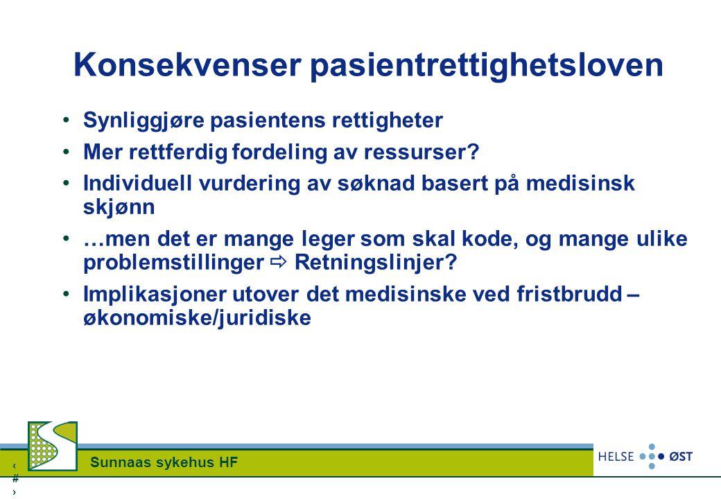 2626 Sunnaas sykehus HF Konsekvenser pasientrettighetsloven Synliggjøre pasientens rettigheter Mer rettferdig fordeling av ressurser? Individuell vurd